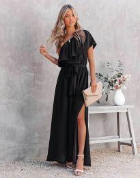 Атрактивна дълга рокля в черно - код 33511