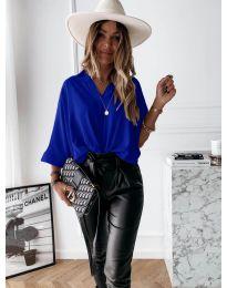 Изчистена дамска риза в тъмно синьо - код 5081