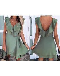 Екстравагантна рокля в маслено зелено - код 7799