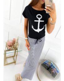 Дълга рокля в моряшки стил - код 6015