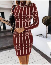 Дамска рокля с ефектен десен в бордо - код 0258
