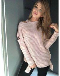 Плетена дамска блуза в цвят пудра - код 715