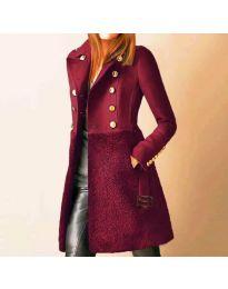 Дамско палто с колан в бордо - код 3100