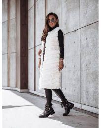 Дамски дълъг елек в бяло - код 9153