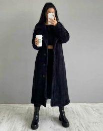 Дълго дамско палто в черно - код 0465