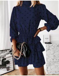 Дамска рокля в  тъмно синьо - код 3665
