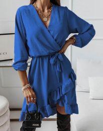 Стилна дамска рокля в синьо - код 5371