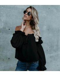 Блуза с лодка деколте в черно - код 5574