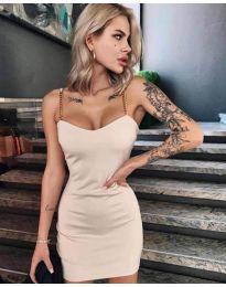 Елегантна рокля в  бежово - код 4749