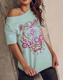 Атрактивна тениска с принт в цвят мента - код 11721