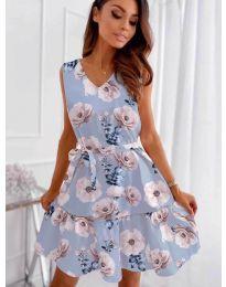 Феерична рокля в светло синьо с флорален мотив - код 316