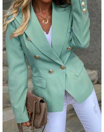 Вталено дамско сако с копчета в цвят мента - код 426
