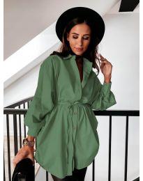 Изчистена дамска риза в маслено зелено - код 2289