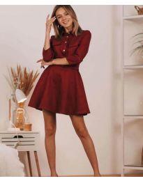 Свободна дамска рокля в бордо - код 6619