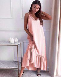 Свободна рокля в светлорозово - код 4671