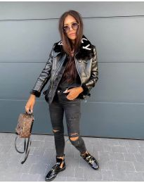 Дамско яке в черно с черен пух - код 2610