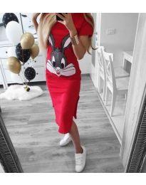Червена дамска рокля с щампа Бъгс Бъни - код 186