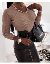 Дамска блуза в цвят капучино - код 0981