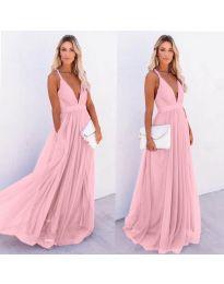 Ефирна дълга рокля в розово - код 5587