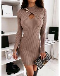 Стилна рокля по тялото в кафяво - код 0771