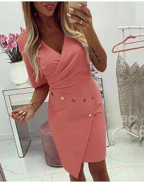 Ефектна рокля с капси в цвят праскова - код 415