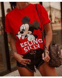 Червена тениска с принт - код 589