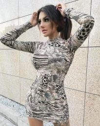 Къса дамска рокля с животински десен - код 2452 - 3