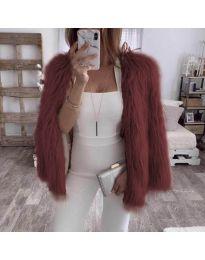 Дамско късо палто в бордо - код 4767