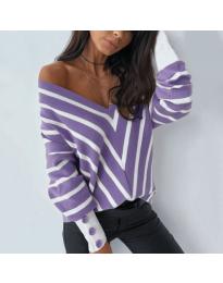 Свободна дамска блуза с отворено деколте в лилаво - код 1070