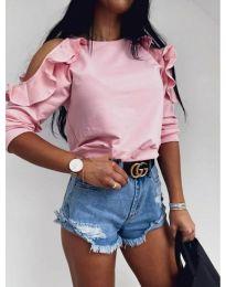 Дамска блуза с ефектни ръкави в розово - код 3434