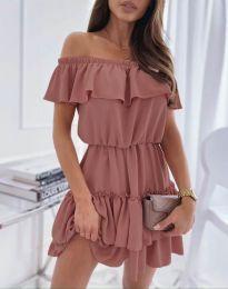 Кокетна къса рокля в пудра - код 6777