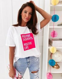 Тениска в бяло с ефектен принт - код 3163