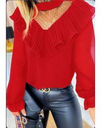 Червена дамска блуза с интересно деколте - код 013
