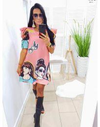 Свободна рокля в розово с ефектни апликации - код 546