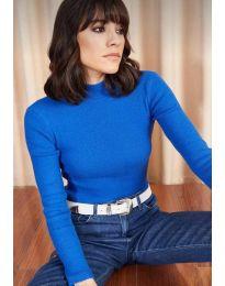 Изчистена дамска блуза в синьо - код 11499