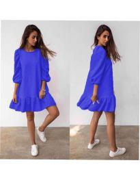Свободна дамска рокля в синьо - код 784