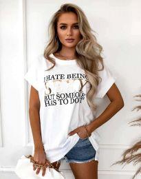 Дамска тениска в бяло - код 4578