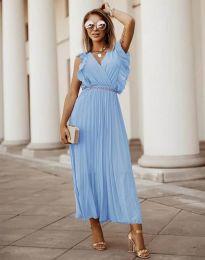 Елегантна дамска рокля с колан в светлосиньо - код 3320