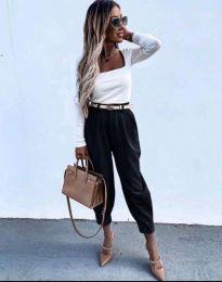 Дамски панталон с колан в черно - код 2109