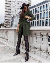 Дамско палто с колан в маслено зелено - код 3839