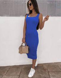 Дамска рокля по тялото в синьо - код 5964