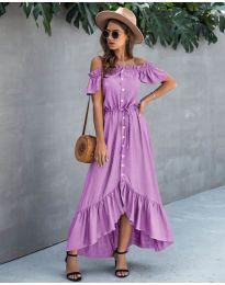 Свободна дълга рокля в лилаво - код 564