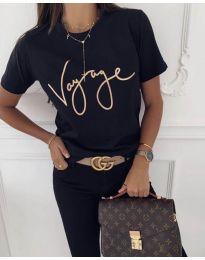 Дамска тениска в черно със златист надпис - код 213