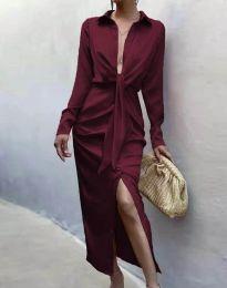 Елегантна рокля в цвят бордо - код 6459