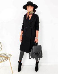 Елегантно дамско палто в черно - код 1695