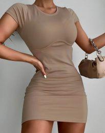 Изчистена къса рокля в цвят капучино - код 12833