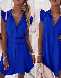 Дамска рокля с колан в синьо - код 7411