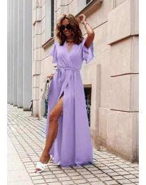 Ефирна дълга рокля с цепка в лилаво - код 666
