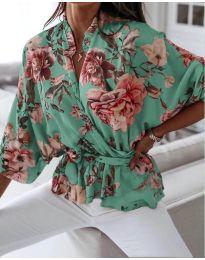 Свободна дамска риза на цветя в цвят мента - код 127