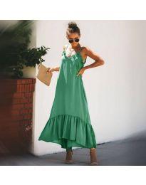 Лятна зелена дамска рокля с тънки презрамки - код 558